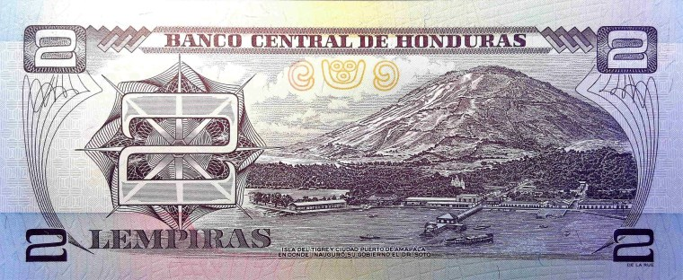 Honduras 2 Lempiras Banknote back, featuring mountain