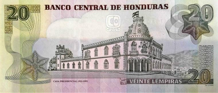 Honduras 20 Lempiras Banknote back, featuring Casa Presedencial