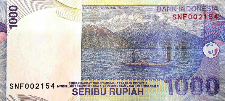 Indonesia 1000 Rupiah Banknote, Year 2009  back, featuring mountain and lake