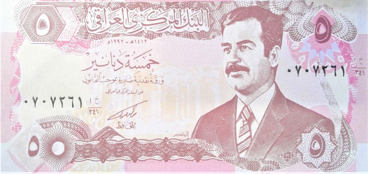 Iraq 5 Dinars Banknote front, featuring portrait