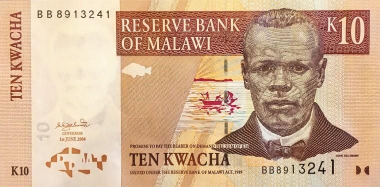 Malawi 10 kwacha banknote (2004) front, featuring portrait of John  Chilembwe
