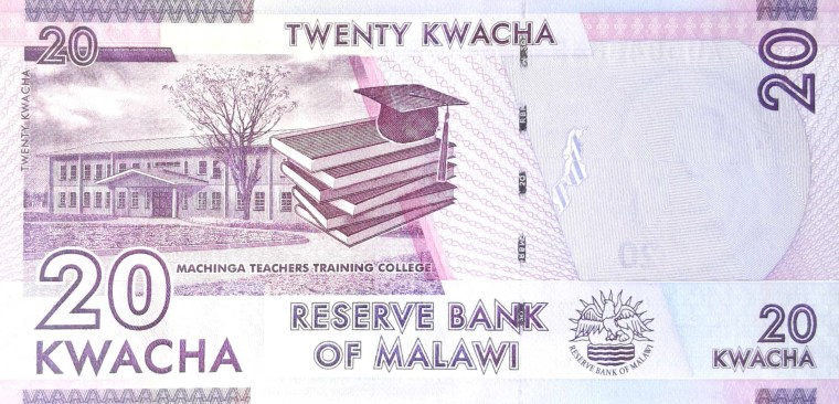 Malawi 20 Kwacha banknote, year 2015 back back, featuring machinga teachers training college, text books and graduation cap and tassle