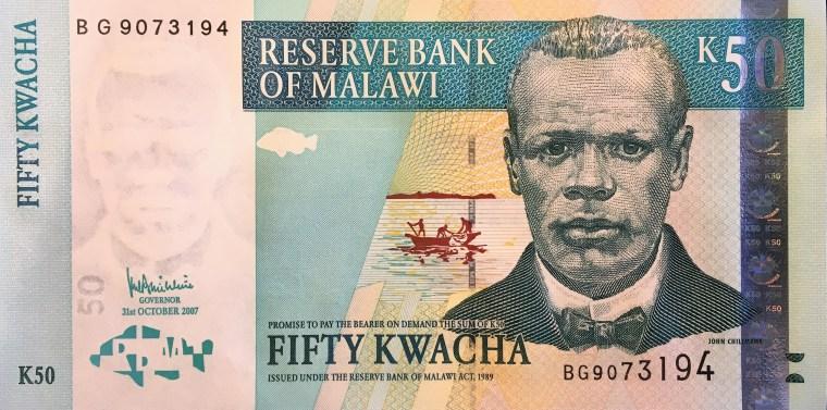 Malawi 50 kwacha banknote  (2007) obverse, featuring John Chilembwe