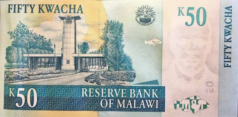 Malawi 50 kwacha banknote (2007) reverse , featuring Independence Arch - Blantyre
