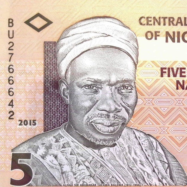 closeup of portrail on Nigeria 5 Naira Banknote, year 2015 front