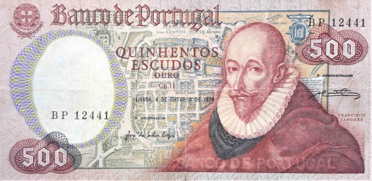 Portugal 500 escudos banknote, year 1978 front, featuring philosopher, Francisco Sanches