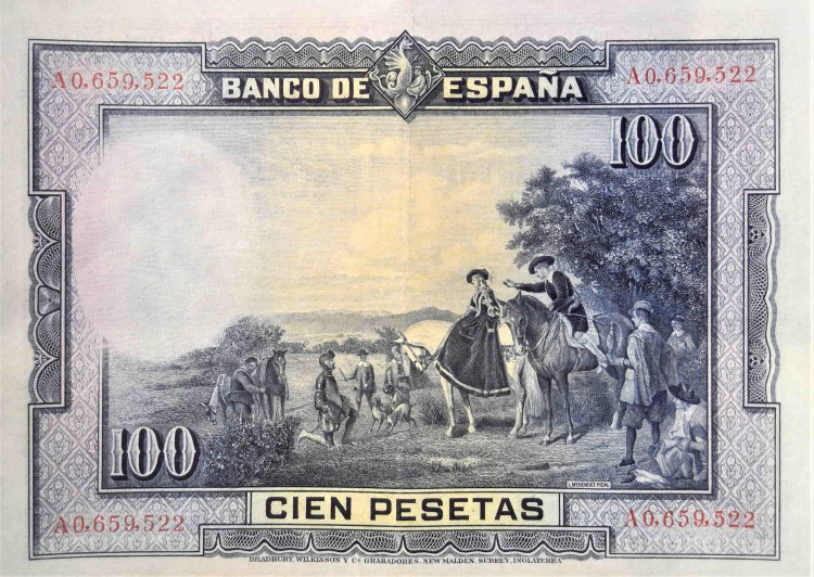 """Spain 100 pesetas banknote, year 1928 front back, featuring painting Spain 1928 100 pesetas, featuring the painting """"Encounter of the Dukes by Don Quixote"""""""