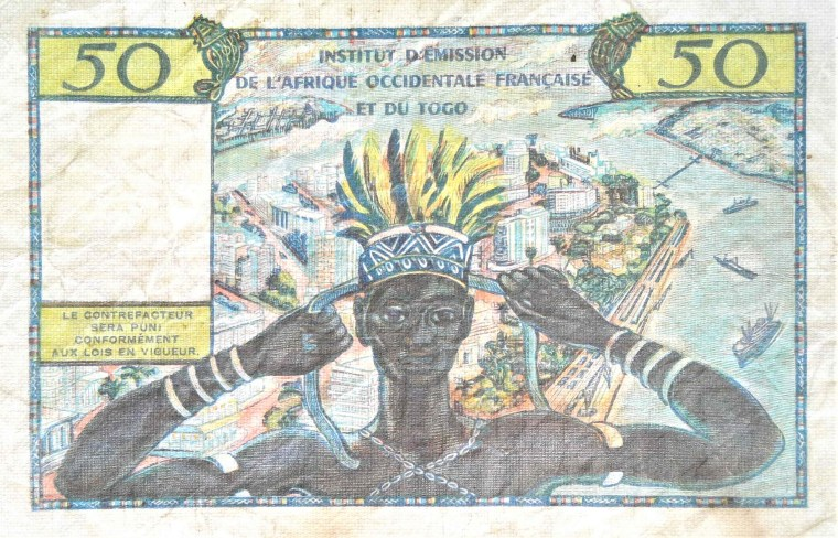 Togo 50 Francs Banknote, 1958 front, featuring man in feathered headress