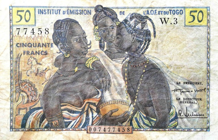 Togo 50 Francs Banknote, 1958 front, featuring 2 women and 1 man