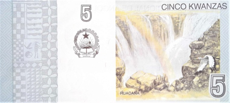 Angola 5 Kwanza Banknote Year 2012 back featuring the Ruacana waterfalls