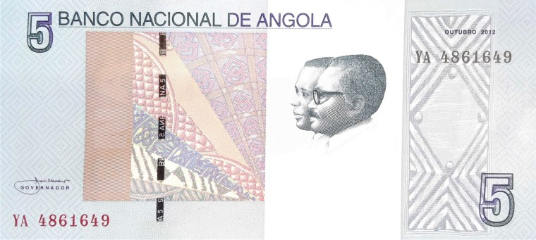 Angola 5 Kwanza Banknote Year 2012 front featuring double bust of Jose Eduardo dos Santos and Antonio Agostinho Neto, two presidents of Angola.
