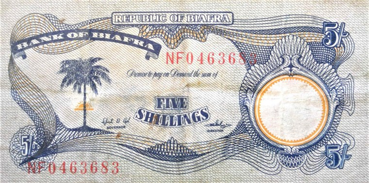 Biafra 5 shillings banknote front, featuring palm tree