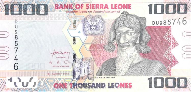 Sierra Leone 1000 leones banknote year 2013 front featuring Bai Bureh, the great Warrior of Sierra Leone