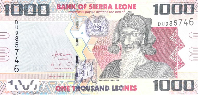 Sierra Leone 1000 leones banknote year 2013 front featuring Bai Bureh, the great Warrior of Sierra Leone