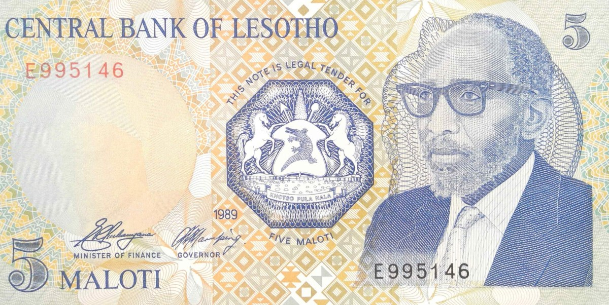 lesotho 5 maloti banknote year 1989 front featuring portrait of King Moshoeshoe of Lesotho