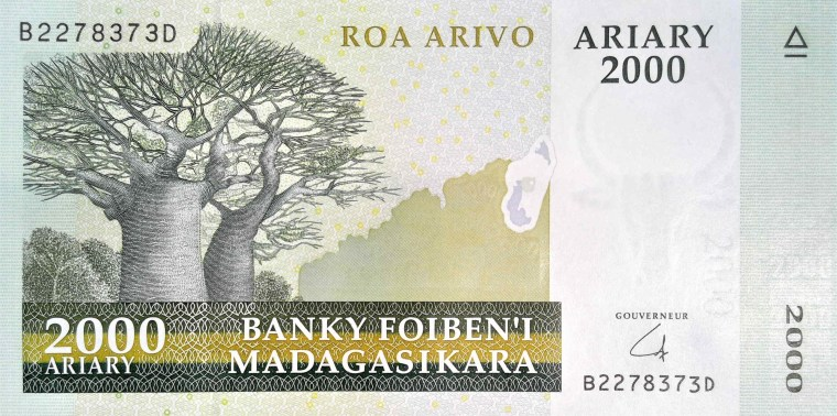 Madagascar 2000 Ariary banknote - front, featuring  Baobab tree
