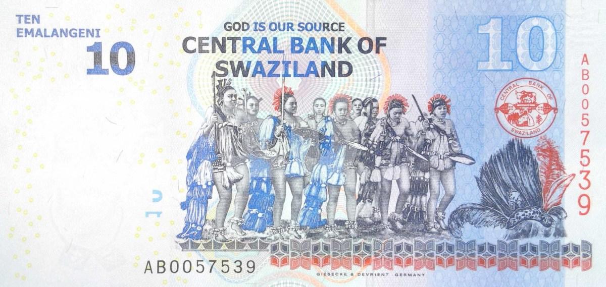 swaziland 10 lilangeni banknote, year 2014 back