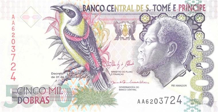 sao tome e principe 5000 dobras 2013 banknote front featuring Rei Amador and papa figo bird