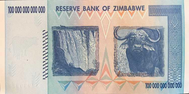 Zimbabwe 100 Trillion Dollar banknote 2008 back