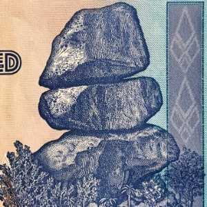 closeup detail of Balancing Rocks of Zimbabwe featured on Zimbabwe 100 Trillion Dollar banknote 2008
