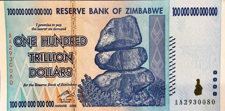 Zimbabwe 100 Trillion Dollar banknote 2008 front