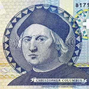 Bahamas 1 Dollar 1992 banknote face featuring portrait of Christopher Columbus