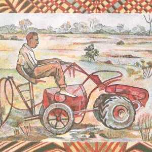 Benin 500 Franc 1994 banknote back featuring man riding garden tractor