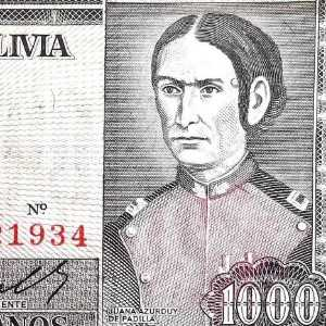 1000 mil pesos bolivianos banknote closeup of Juana Azurduy, The Flower of Alto Peru