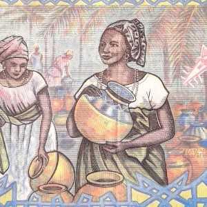 Burkina Faso 5000 Francs 2002 banknote back (2) featuring women at market scene