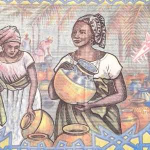 Burkina Faso 5000 Francs 2002 banknote back (2) featuring women at market scene