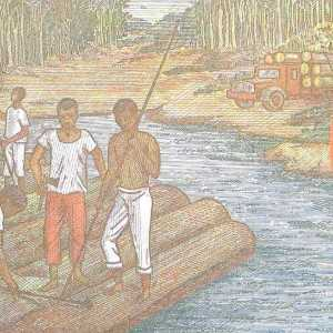 Closeup detail Chad 1000 Francs 2000 banknote back featuring people on raft