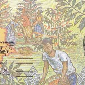 Closeup of detail Chad 1000 Francs 2000 banknote front (2)