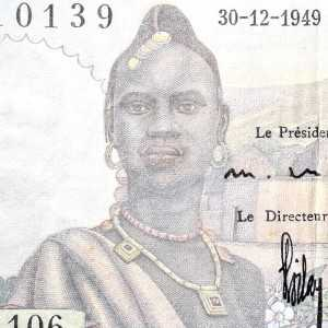 Senegal French West Africa 5 Francs 1949 banknote front (2) featuring woman