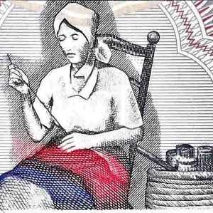 Haiti 10 Gourde 2000 banknote front (2), featuring image of Catherine Flon sewing the original flag of Haiti