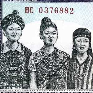 Laos 1000 Kip 2013 banknote front (2), featuring 3 women to illustrate 3 ethnic groups, the Lao Theung, , , Lao Sung, and Lao Lum