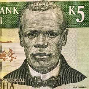 Malawi 5 Kwacha 2005 banknote front (2), featuring John Chilembwe, a minister and educator