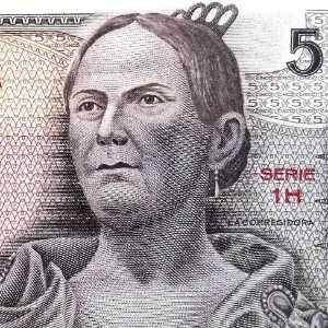 closeup detail of Mexico 5 Peso 1969 banknote front (2) featuring portrait of Doña Josefa Ortiz de Domínguez
