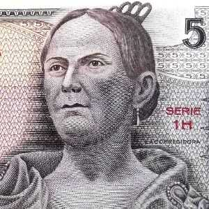 closeup detail of Mexico 5 Peso 1969 banknote front (2) featuring portrait of Doña Josefa Ortiz de Domínguez