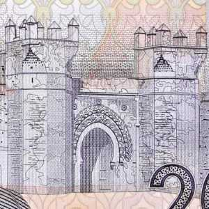 closeup detail of Morocco 20 Dirham banknote front