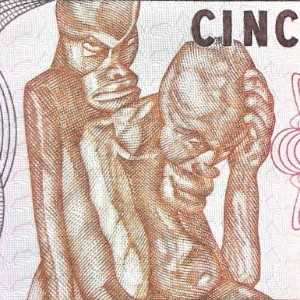 Mozambique 5000 Metical 1988 banknote front (2) featuring wood carving by Alberto Chissano
