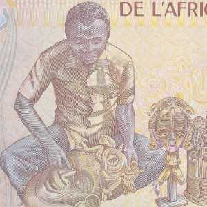 Republic of Central Africa 500 Franc banknote back featuring man with masks
