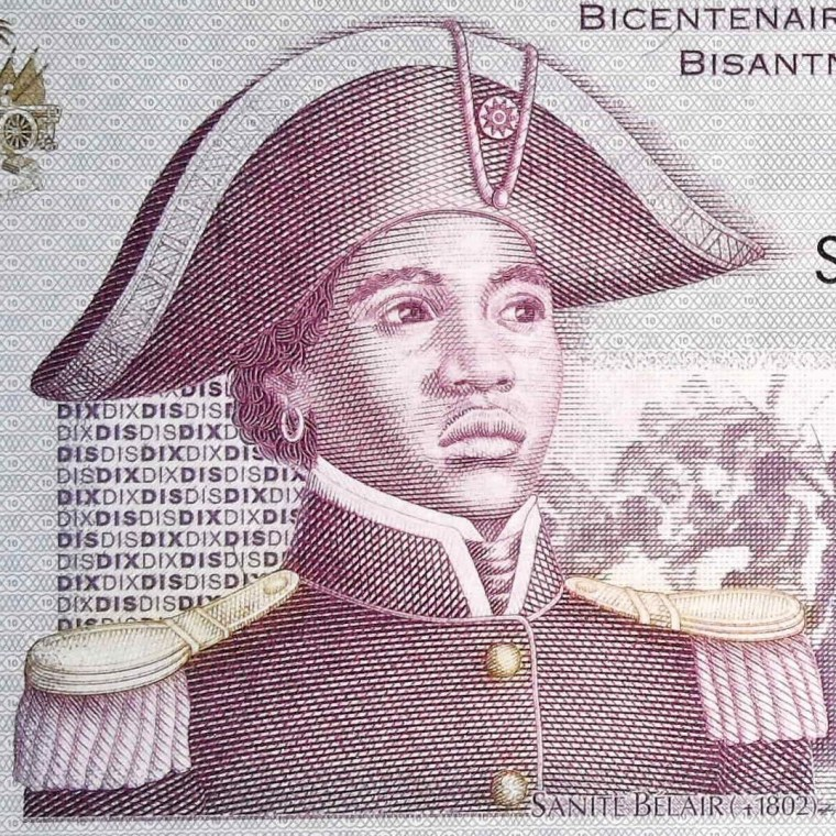 closeup detail from Haiti 10 Gourde 2004 banknote front (2) featuring The Tigress, Suzanne Blair in her military uniform