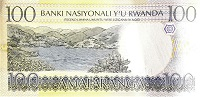 Rwanda 100 Franc 1993 banknote back (2), featuring Lake Kivu