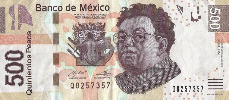 Mexican Quinientos $500 Pesos Banknote face, featuring artist Diego Rivera