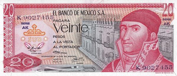 Mexico 20 peso 1973 banknote