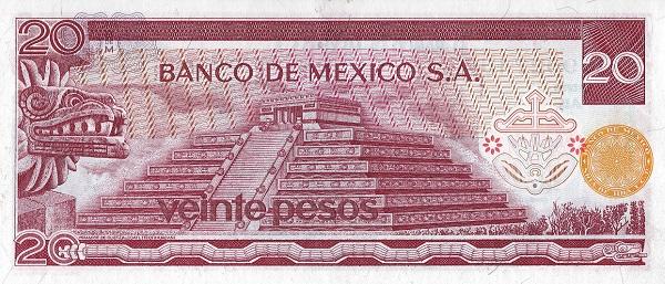 Mexico 20 peso 1973 side 2