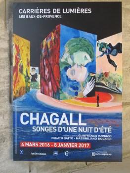 Advertisement for the light and sound show Les Baux de Provence, France.