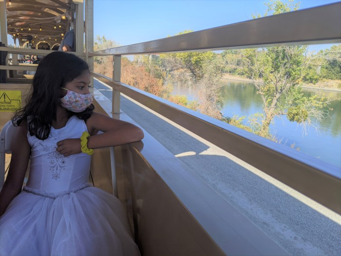 A young girl looking out the side of a train going past a river