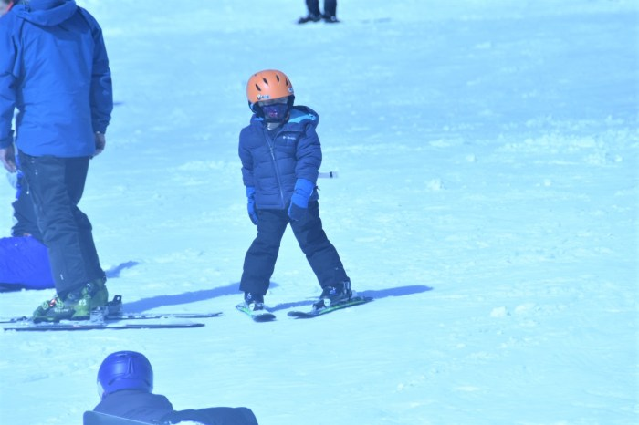 A young boy on skis with an orange helmet.