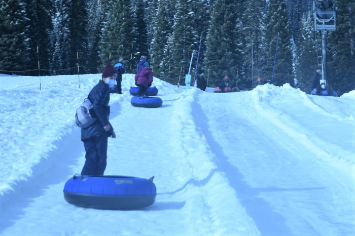 People brining inner tubes up a snowy hill